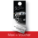 High Quality Maxi Voucher Car Hanger
