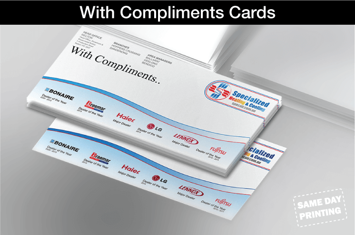 With Compliments Cards
