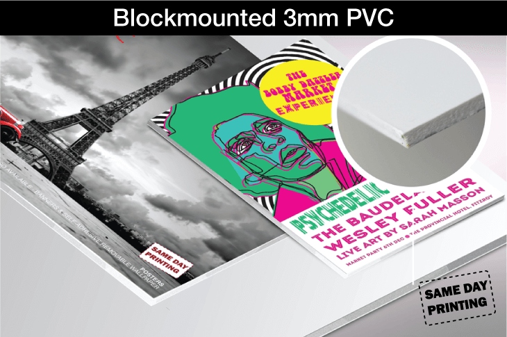Blockmounted 3mm PVC