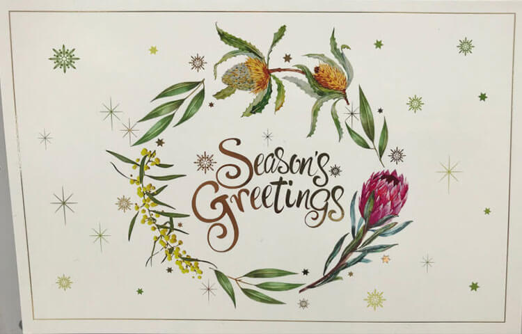 Same Day Printing Floral Greetings Christmas Card