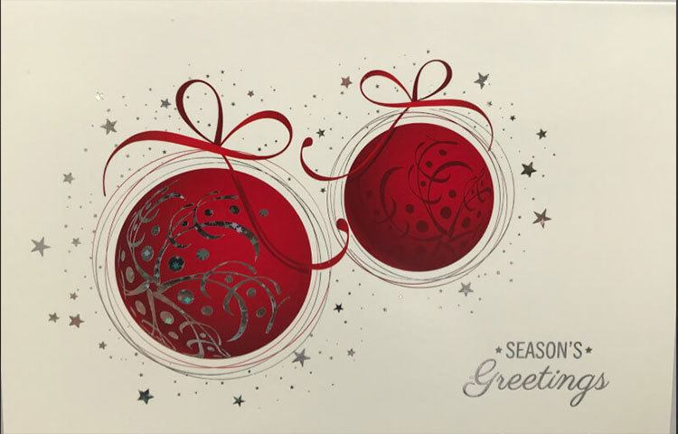 Same Day Printing Beautiful Baubles Christmas Card