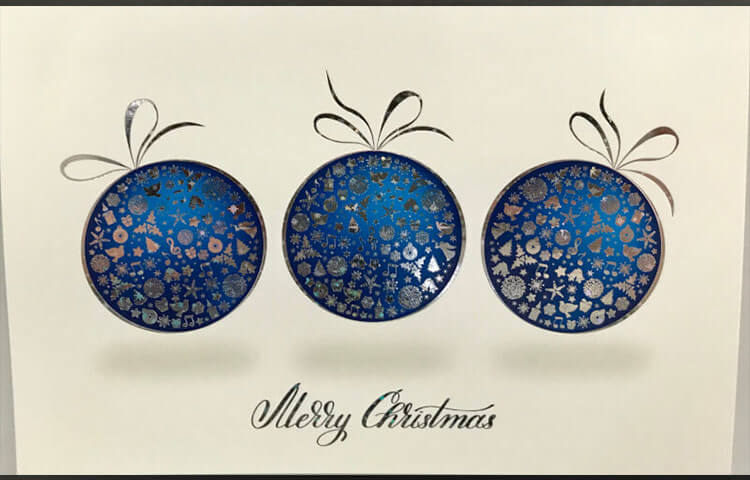 High Quality Midnight Baubles Christmas Cards