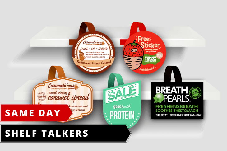 Same day online order on Shelf talker or Wobblers