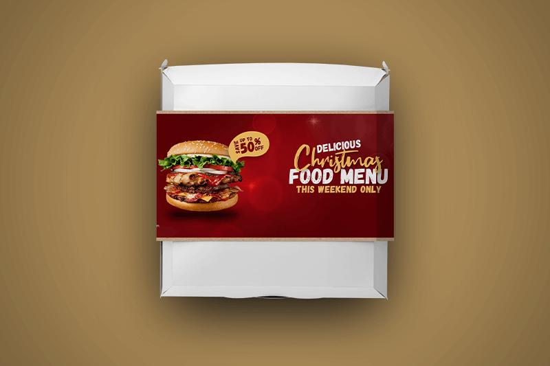 Food Container Sleeves Burger Christmas theme - Same Day Printing
