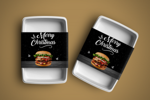 Food Container Sleeves Burgers-2 Christmas theme - Same Day Printing