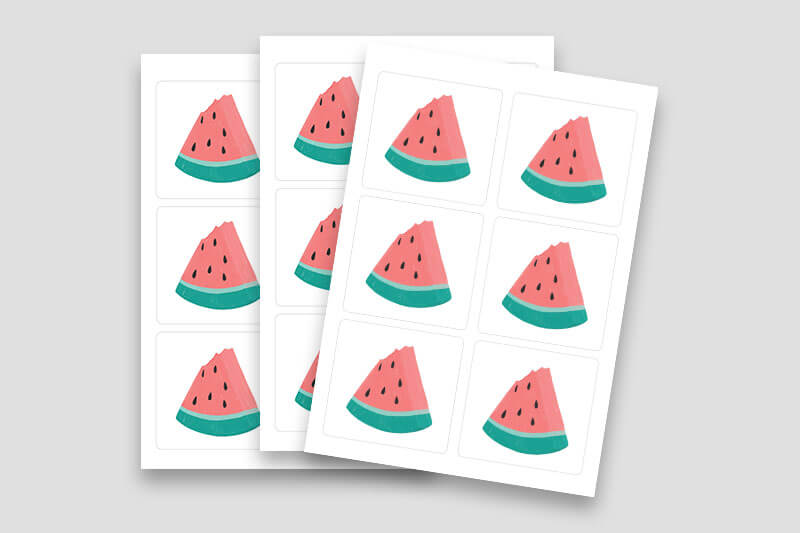 Custom Sheeted Stickers - WaterMelon - Same Day Printing v4