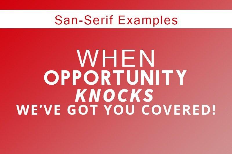 Sans-Serif-fonts examples - samedayprinting