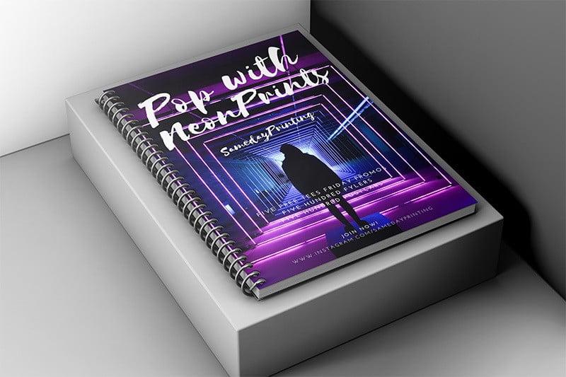 Spiral Bound Books with Neon Prints- Same Day Printing v3